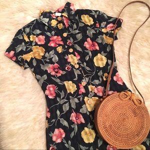 Vintage 90s Floral Button Up Day Mini Dress
